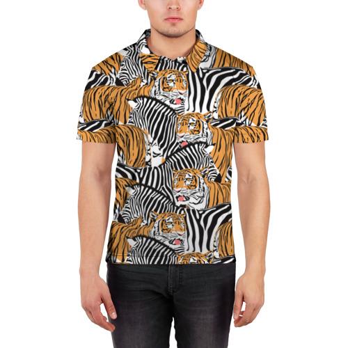 Мужская рубашка поло 3D  Фото 03, Тигры и зебры