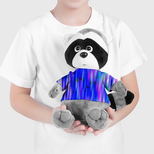 Енотик в футболке 3D neon strokes Фото 01