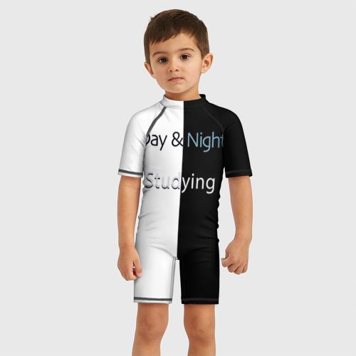 Детский купальный костюм 3D День и Ночь Учеба Фото 01