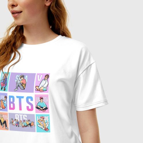 Женская футболка хлопок Oversize BTS Фото 01