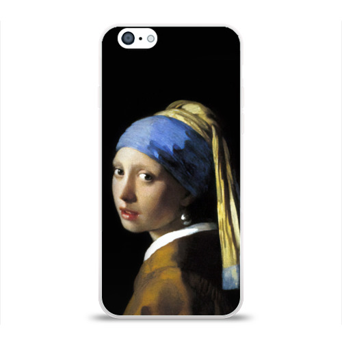 Чехол для Apple iPhone 6 силиконовый глянцевый  Фото 01, Девушка с серьгой
