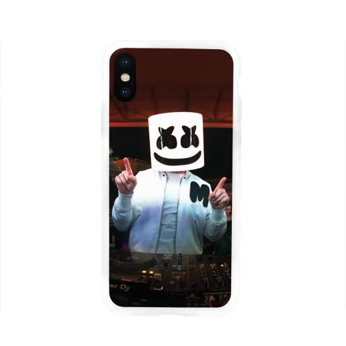 Чехол для Apple iPhone X силиконовый глянцевый Marshmello Фото 01