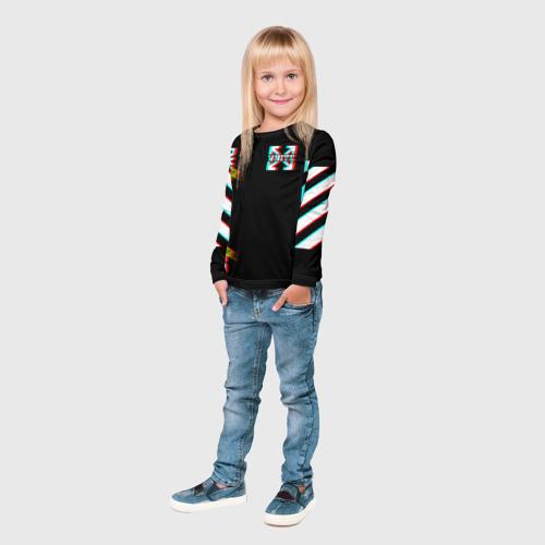Детский лонгслив 3D Off-White Black (Glitch). Фото 01