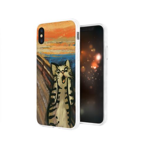 Чехол для Apple iPhone X силиконовый глянцевый Крик котика Фото 01