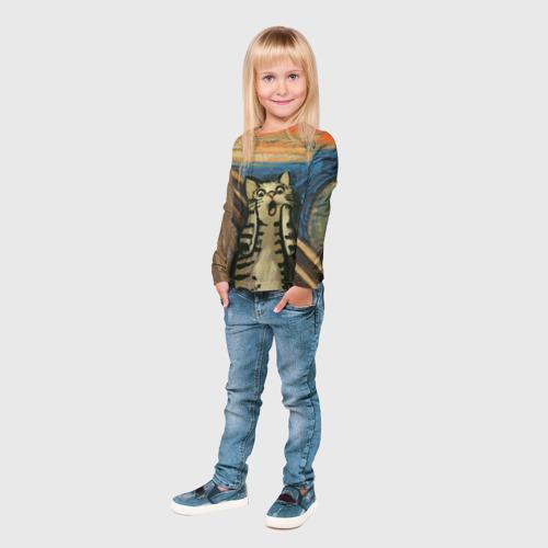 Детский лонгслив 3D Крик котика Фото 01