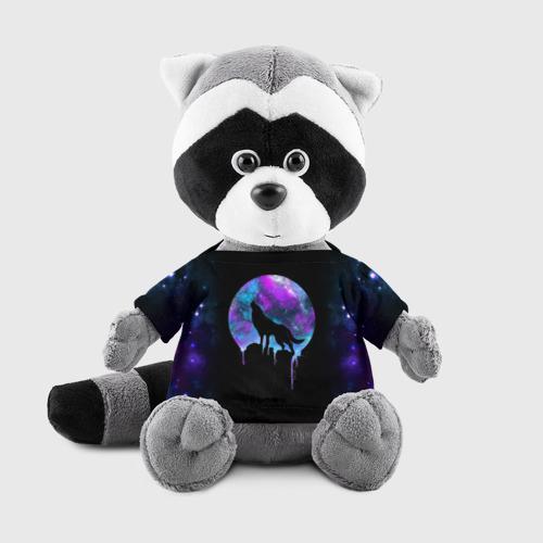 Енотик в футболке 3D волк на фоне луны Фото 01