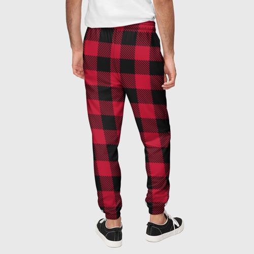 Мужские брюки 3D Красный паттерн крупная клетка Фото 01