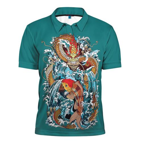 Мужская рубашка поло 3D Дракон и карп кои