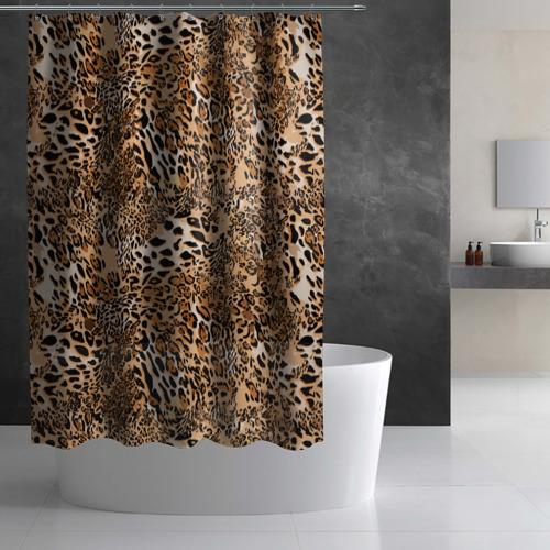 Штора 3D для ванной Леопард Фото 01