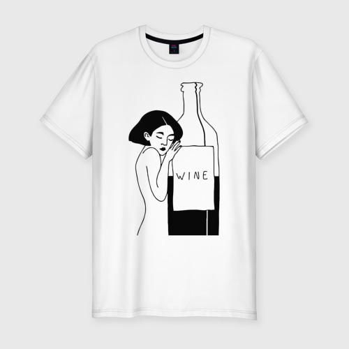 Мужская футболка премиум  Фото 01, Девушка с бутылкой вина