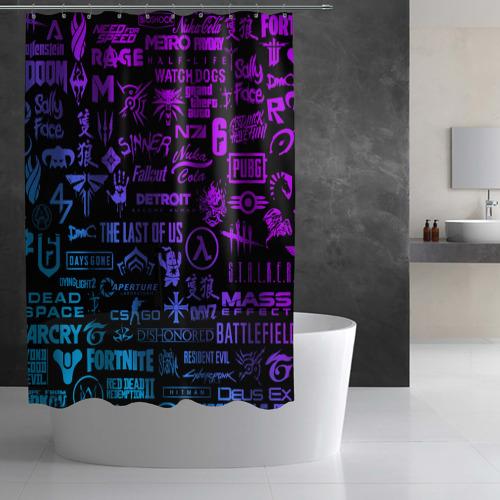 Штора 3D для ванной ЛОГОТИПЫ ИГР Фото 01