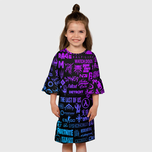 Детское платье 3D ЛОГОТИПЫ ИГР Фото 01