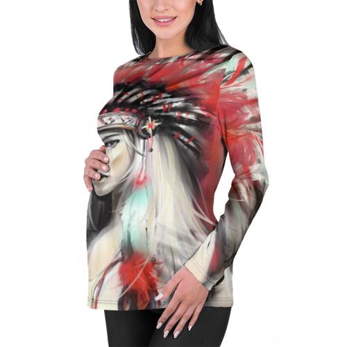 Женский лонгслив 3D для беременных  Фото 01, Индейская девушка