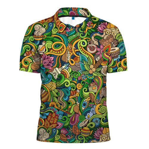 Мужская рубашка поло 3D Тибетский коллаж