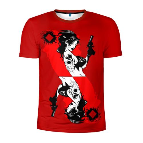 Мужская футболка 3D спортивная  Фото 01, Дама бубен