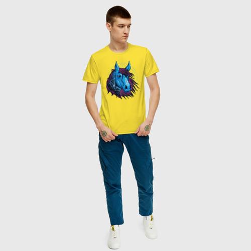 Мужская футболка хлопок Лошадь Неон Фото 01