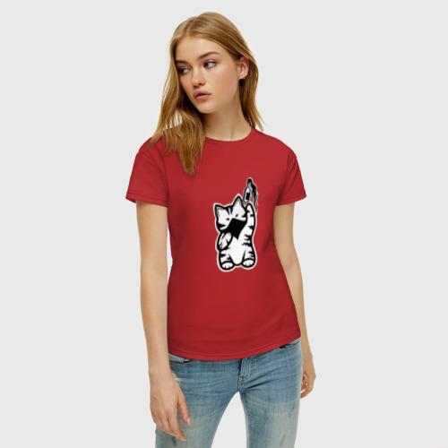 Женская футболка хлопок Anarchist Cat Molotov Cocktail Фото 01