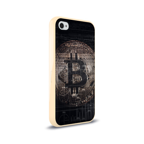 Чехол для Apple iPhone 4/4S силиконовый глянцевый Биткойн Фото 01