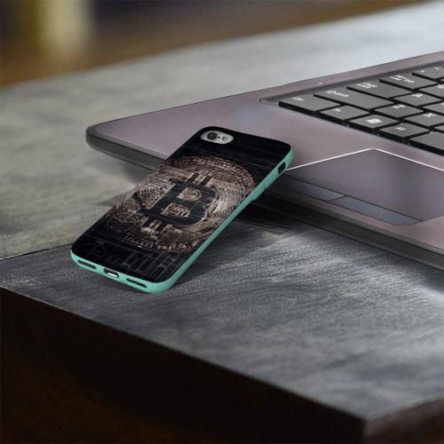 Чехол для Apple iPhone 8 силиконовый глянцевый Биткойн Фото 01