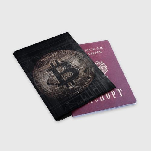 Обложка для паспорта матовая кожа Биткойн Фото 01