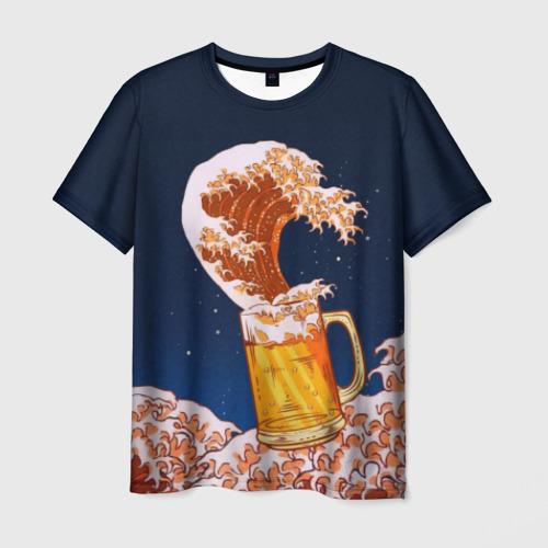 Мужская футболка 3D Пенные волны
