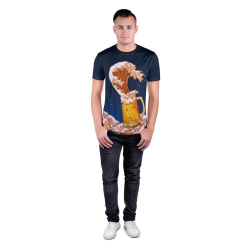 Мужская футболка 3D спортивная Пенные волны Фото 01