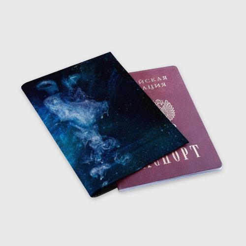 Обложка для паспорта матовая кожа Синий космос Фото 01