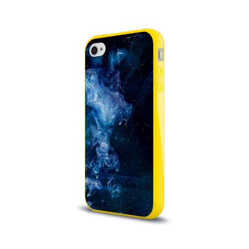 Чехол для Apple iPhone 4/4S силиконовый глянцевый Синий космос Фото 01