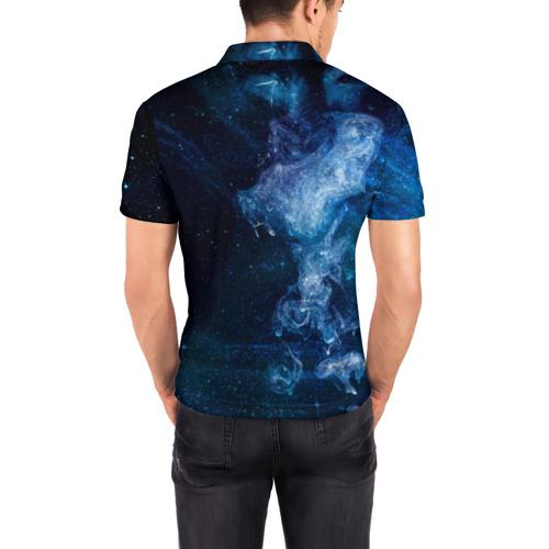 Мужская рубашка поло 3D  Фото 04, Синий космос