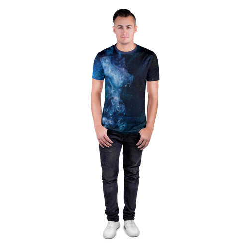 Мужская футболка 3D спортивная Синий космос Фото 01