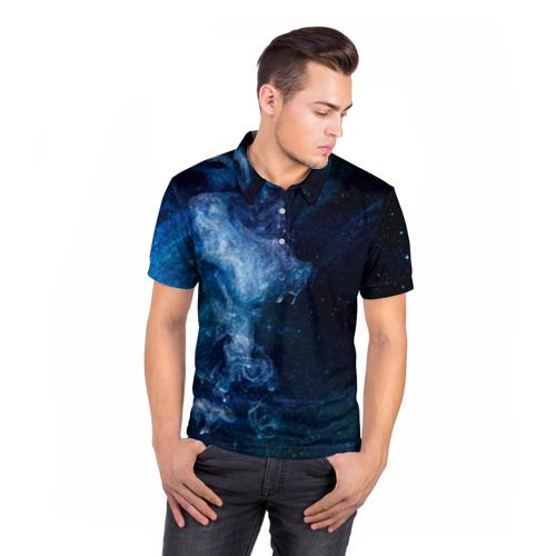 Мужская рубашка поло 3D  Фото 05, Синий космос
