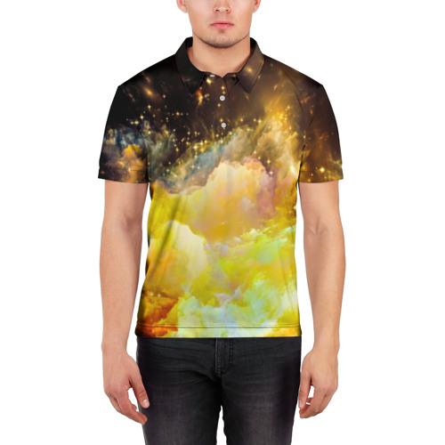 Мужская рубашка поло 3D  Фото 03, Желтая краска
