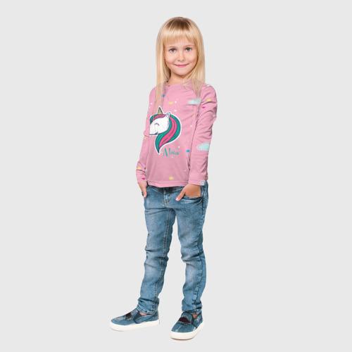 Детский лонгслив 3D Алиса - единорожка Фото 01