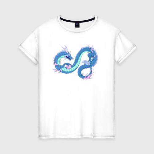 Женская футболка хлопок Синий китайский дракон