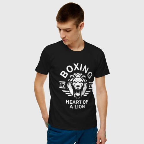 Мужская футболка хлопок Бокс - сердце льва Фото 01