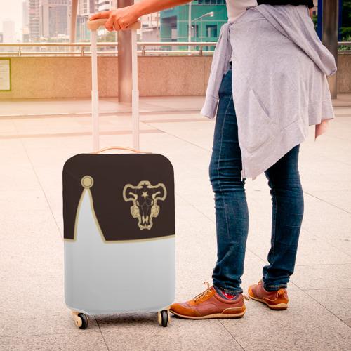 Чехол для чемодана 3D Мантия Чёрный Бык (Белый) Фото 01