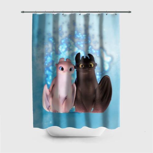 Штора 3D для ванной ночная фурия Фото 01
