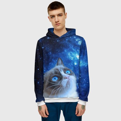 Мужская толстовка 3D Сердитый кот в космосе Фото 01