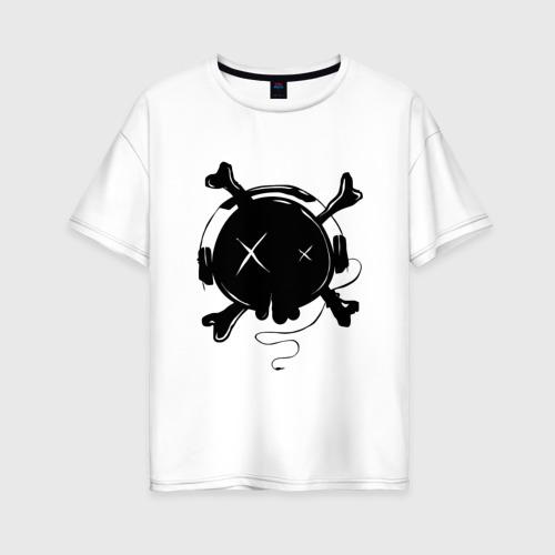 Женская футболка хлопок Oversize Skull Music Фото 01