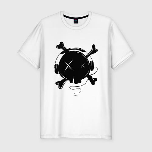 Мужская футболка хлопок Slim Skull Music Фото 01