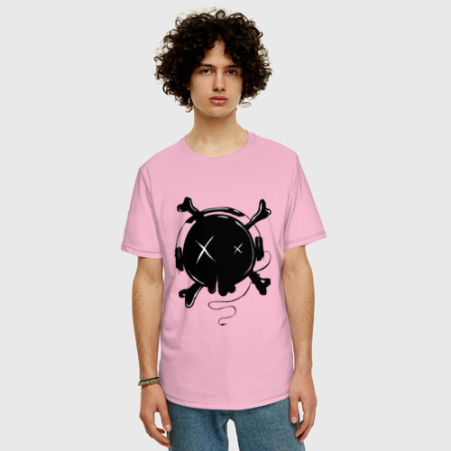 Мужская футболка хлопок Oversize Skull Music Фото 01