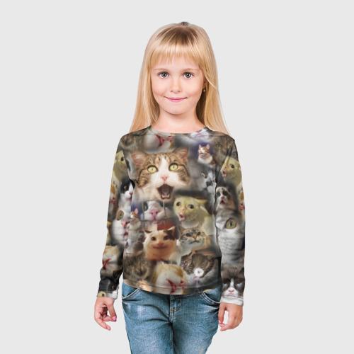 """Детский 3D лонгслив """"Те самые коты"""" фото 2"""