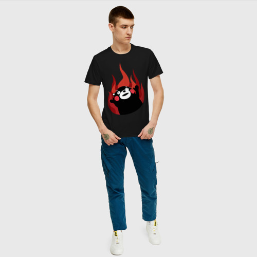 Мужская футболка хлопок Kumamon поджигает Фото 01
