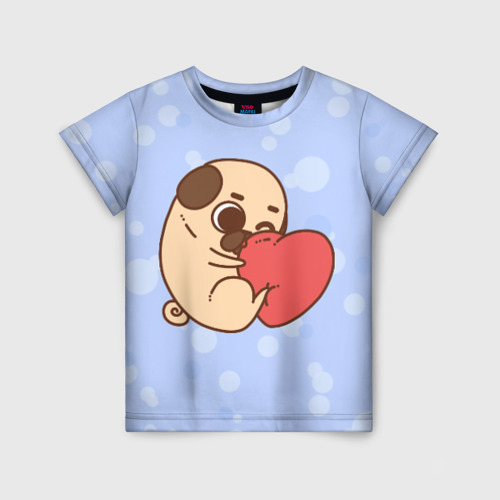 Детская футболка 3D Мопс и Сердечко 170 фото