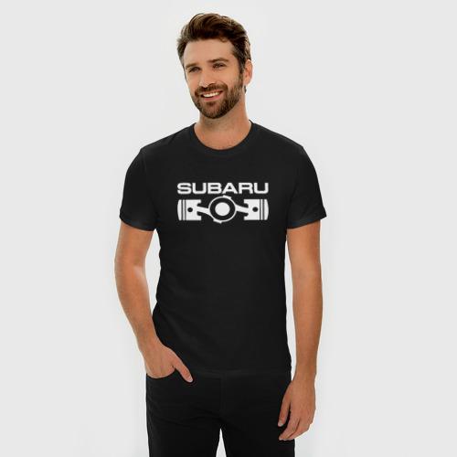 Мужская футболка хлопок Slim Subaru оппозитный двигатель  Фото 01