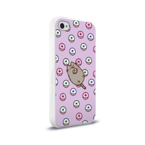 Чехол для Apple iPhone 4/4S силиконовый глянцевый Pusheen с пончиками Фото 01