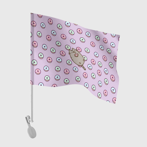 Флаг для автомобиля Pusheen с пончиками Фото 01
