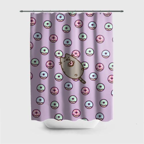 Штора 3D для ванной Pusheen с пончиками Фото 01