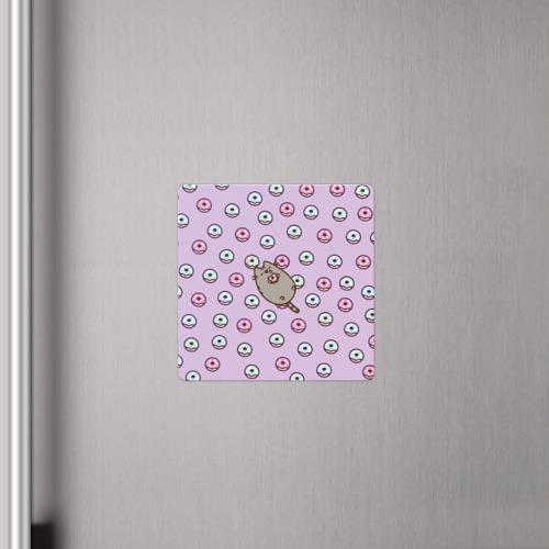 Магнит виниловый Квадрат Pusheen с пончиками Фото 01