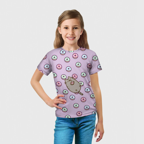 Детская футболка 3D Pusheen с пончиками Фото 01